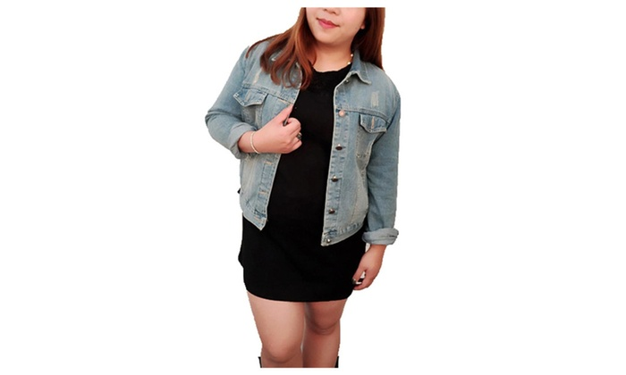 Women's Simple Solid Buttons Up Casual Denim Jacket