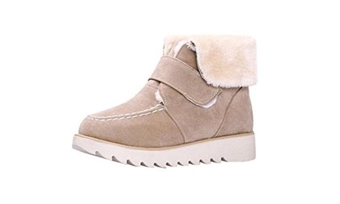 PerfectAZ Women's Suede Vamper Round-Toe Platform Heels Fur Winter Velcro Snow Boots