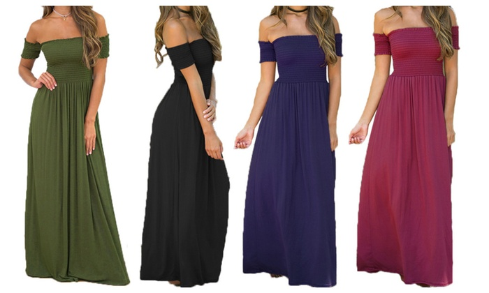 Oshlen Elegant Boat-Neck solid Maxi Dress