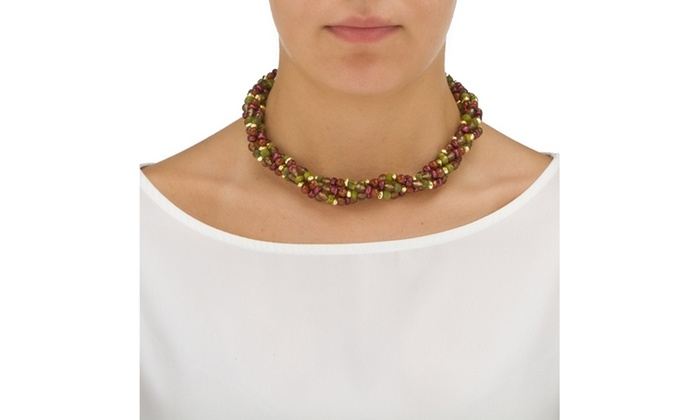 Disc Multicolor Beaded Jewery Necklace And Earrings Set