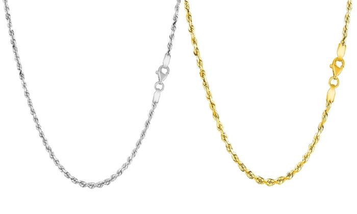 Ss Rhodium Plated 1.5mm Diamond-Cut Rope Chain