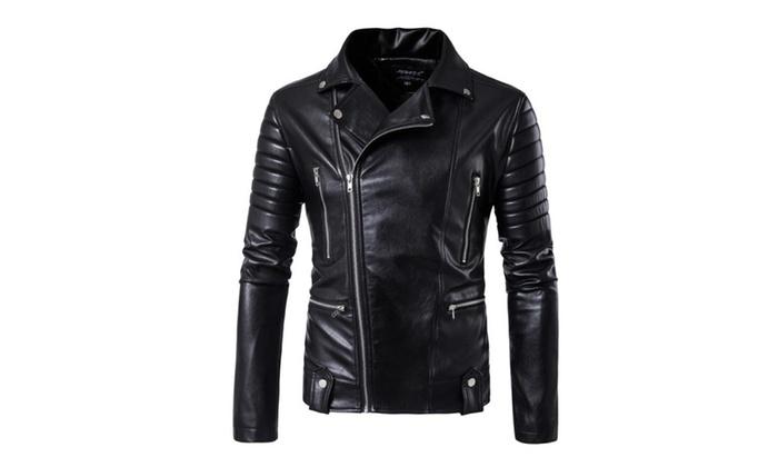 253f2b9a54 KTMVP Men Trendy Classic Lapel Oblique Zipper Faux Leather Jacket | Groupon