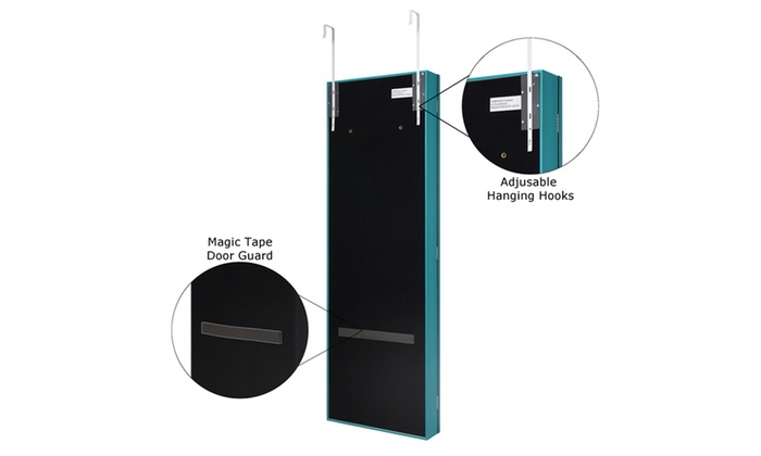... Turquoise Halle Full Length Over The Door/Wall Mounted Jewelry Storage  Vanity, Turquoise