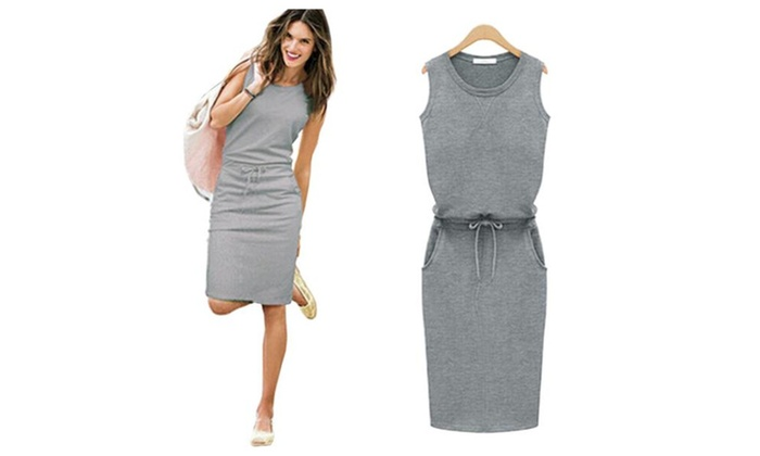 Women's Sleeveless Drawstring Waist Casual Dress
