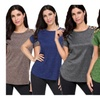 Womens Solid Crisscross Cut Out Shoulder Round Neck Loose fit Tee