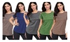 Hellochic: Womens Solid Crisscross Cut Out Shoulder Round Neck Loose fit Tee