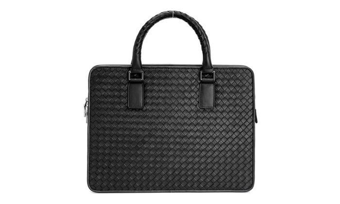 Men's Genuine Leather Briefcase Pattern Business 14″ Laptop Bag