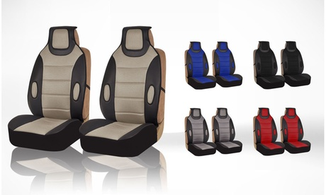 Two Leatherette Front Seat Cushion Pads with 3D Air Mesh FB202102-G
