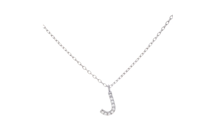 Sterling silver cz j initial pendant 18 cable chain necklace sterling silver cz j initial pendant 18 cable chain necklace aloadofball Image collections