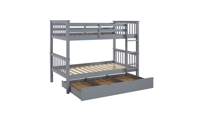 Office Accents Solid Wood Twin Bunk Bed With Trundle Bed Grey