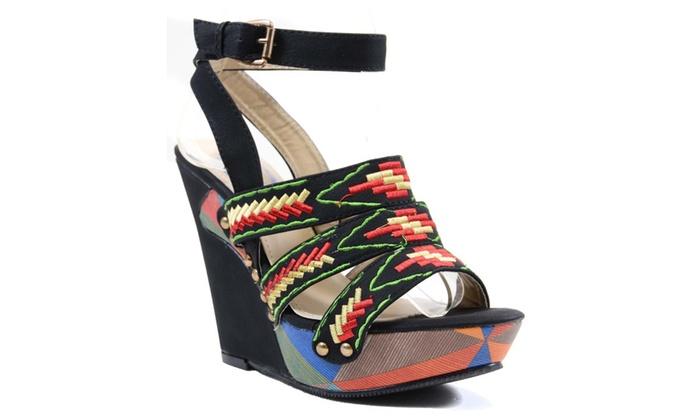 Women's Tribal Colorblock Woven Platform Vegan Wedge Sandals