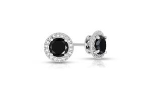 2cttw Black Diamond Halo Stud Earrings in Sterling Silver