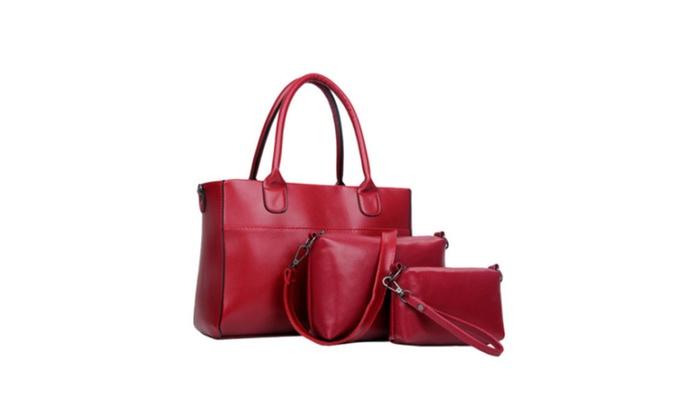 Women Cross-Body Bag Hobo 3 Pcs Tote Handbag Bag Purse Set – Red