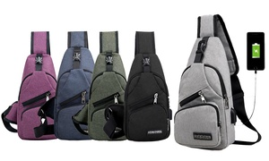 e36d7c009 Canvas Sling Backpack Shoulder Crossbody Chest Bag for Men Women