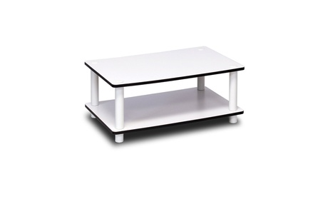 Furinno 11172 Just 2-Tier No Tools Coffee Table, White w/White Tube 1fde63e4-3e5a-4807-a020-4de79cbf4c0e