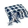 Navy Check Pattern Knit 50 x 60 Polyester Throw Blanket w/ Fringe