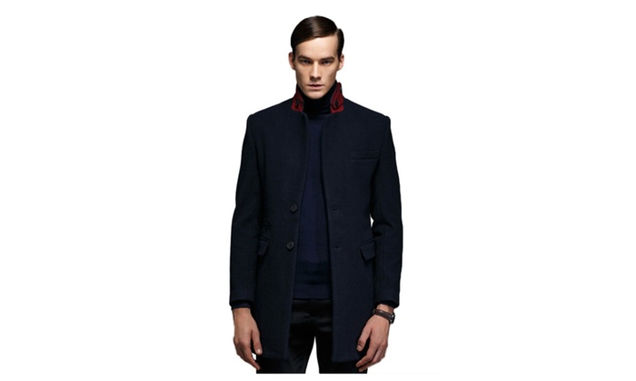 Men's Stand Collar 2 Buttons Wool Winter Long Trench Coat Jacket