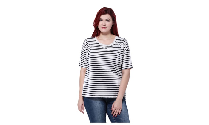 00089fac0 Women Plus Size Short Sleeve O-neck Black and White Stripes T-Shirt ...