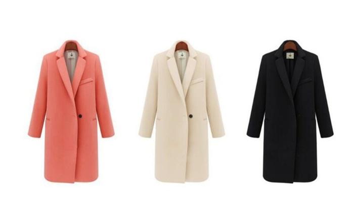 Single Button Elegant Warm Women Woolen Coat