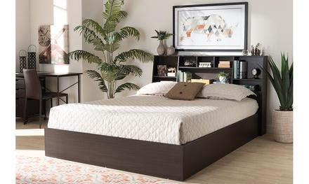 Geoffrey Brown Wood Platform Storage Bed with Shelves