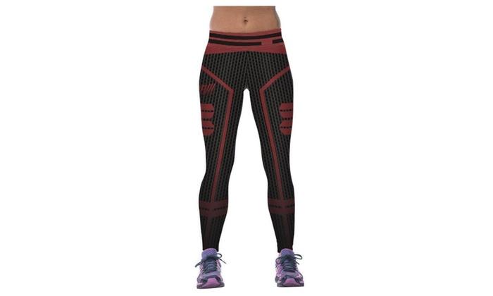 Women's Mesh Digital Printing Elasticity Tight Fitness Pants Leggings