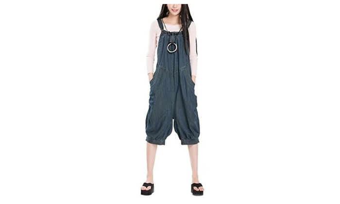 Women's Rompers Wide Leg Jeans Pants Strapless Jumpsuit with Pockets - Blue / One Size