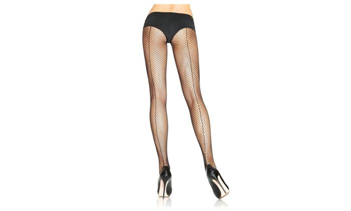 Beston Women Leg Avenue 9015 Fishnet W/Back Seam Pantyhose - Black / O/S