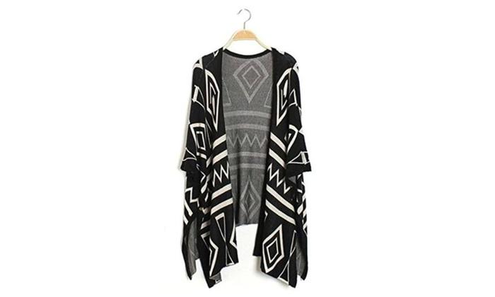 Dixperfect®Womens BOHO Knit Cardigan Sweater Loose Kimono