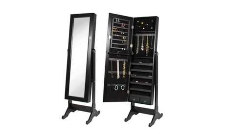 image for Black Mirrored Jewelry Cabinet Armoire w Stand Mirror Rings,  Necklaces