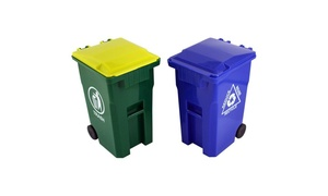 Mini Curbside Trashcan and Recycle Bin Pencil Holders Set (2-Piece)