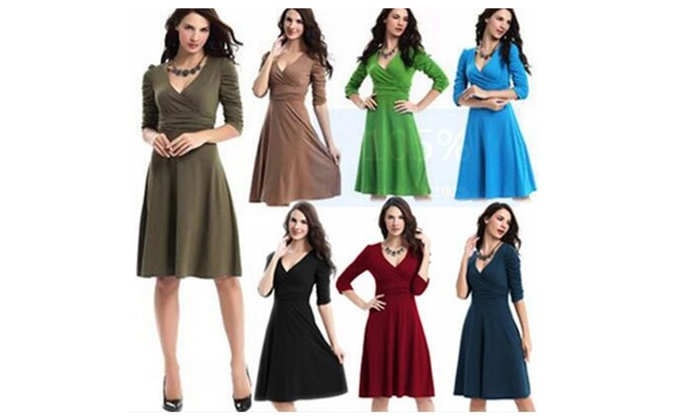 3/4 Sleeve V-Neck Ruched Waist Vintage Casual Party Dress
