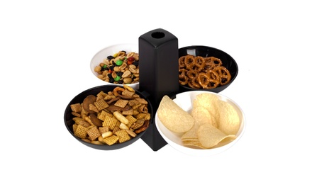 Innovative Living Sports Party Serving Bowls, 2 Black, 2 White Bowls and Stand