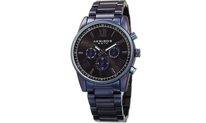 Akribos XXIV Men's Multifunction Dual Time Bracelet AKGP912