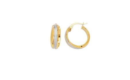 14K Yellow+White Gold Shiny Textured Two Tone Round Hoop Earring