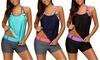 Women's Plus Size Floral Color Block Bathing Suit Tummy Control Blouson Swimsuit
