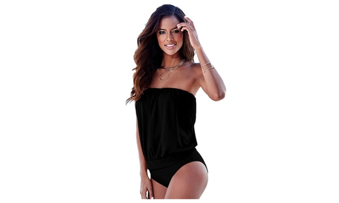 One Piece Swimsuit Strapless Monokini Bodysuit Swimwear Plus Size