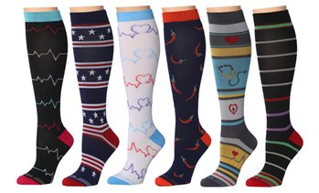 REXX Medical Prints Nurses Inspired Knee-High Compression Socks (3-Pairs)