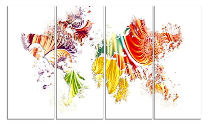 Colorful world map canvas art print groupon colorful world map canvas art print gumiabroncs Images