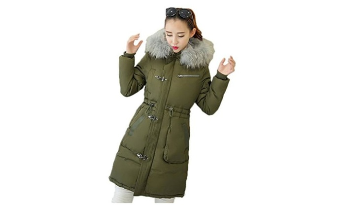 Smile YKK Womens Unisex Hooded Thickened Down Winter Mid-Long Coat Parkas