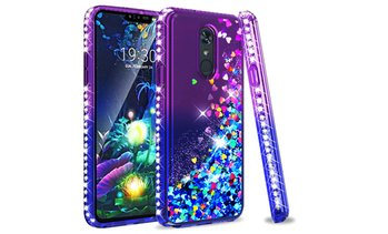 Glitter Liquid Floating Hearts Diamonds Case For LG Stylo 4 / Stylo 5