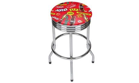 Coca Cola Chrome Ribbed Bar Stool - Pop Art 558704ee-9d46-4b6d-95f5-281faac2f199