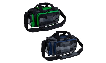 Portable Soft Sided Canvas Tackle Box Shoulder Strap Fishing Gear Holder
