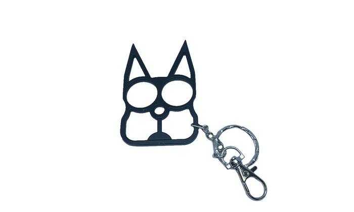Classic Cat Self Defense Tools Keychain Metal Keyrings Girl Women