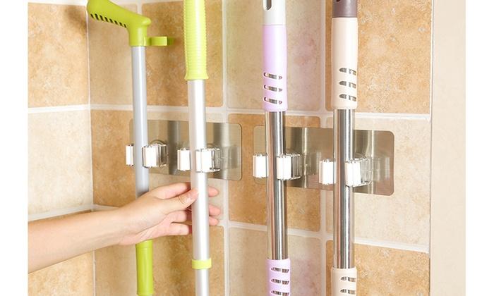 Wall Mounted Mop Organizer Holder Brush Broom Hanger Storage Rack Kitchen Tool