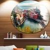 Vernazza Bay Aerial View' Large Seascape Art Metal Circle Wall Art