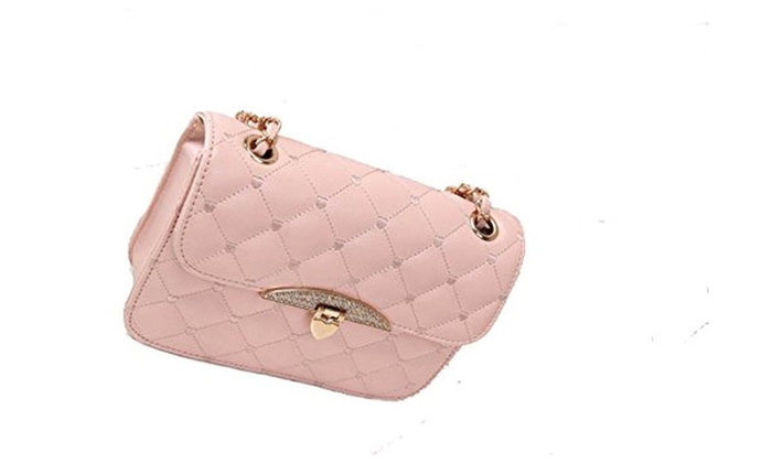 Women's Practical Diamond-shaped Texture Cross Body Handbag – Pink / One Size