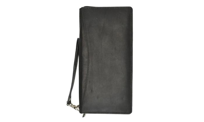 Top Grain Genuine Leather Travel Organizer Wallet Passport Holder