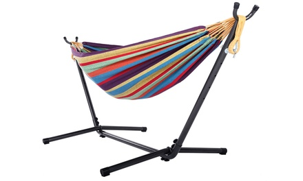 Portable Outdoor 440lbs Hammock Set With Space Saving Steel Stand Was: $74.95 Now: $59.99.