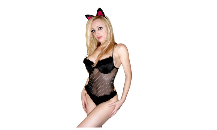 2 PC Sexy Cat Woman Costume Set