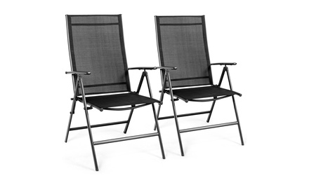 Costway Set of 2 Patio Folding Chair Recliner Adjustable Black
